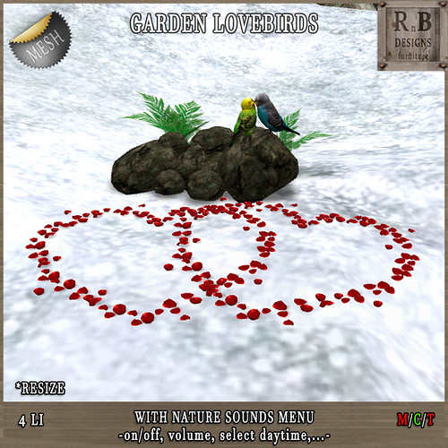 Thrift Shop EXCLUSIVE NEW RELEASE 50% OFF !!! *RnB* Garden Lovebirds -nature sounds menu- (copy)
