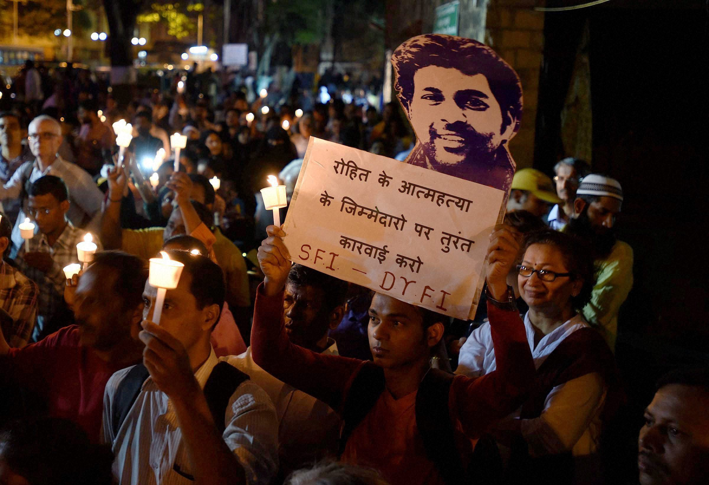 When Rohit Vemula committed suicide, the BJP set out to prove he wasn't a Dalit as if that would have normalised his death. Photo credit: PTI