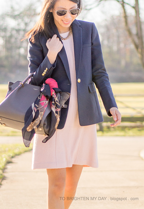 navy blazer, pink wool shift dress, scarf tied on tote