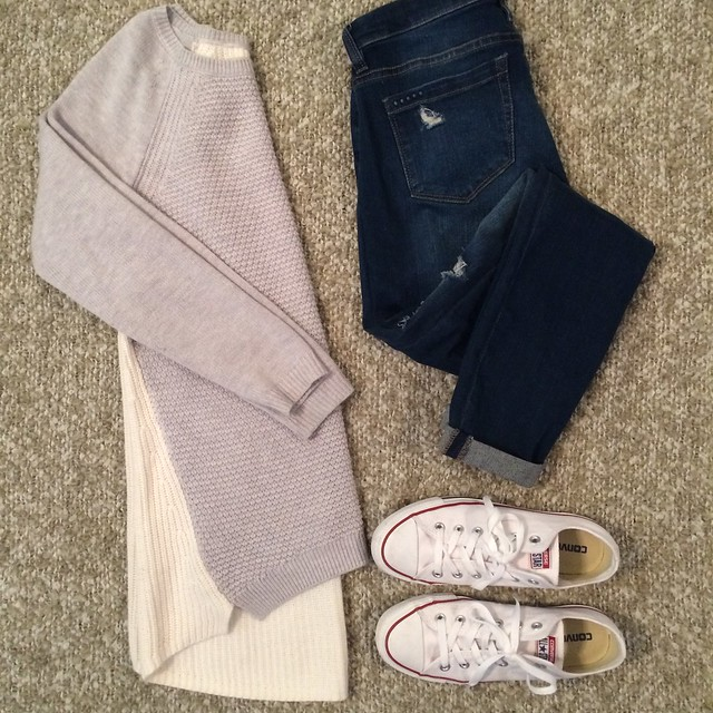 gray sweater + distressed skinny jeans + white converse sneakers