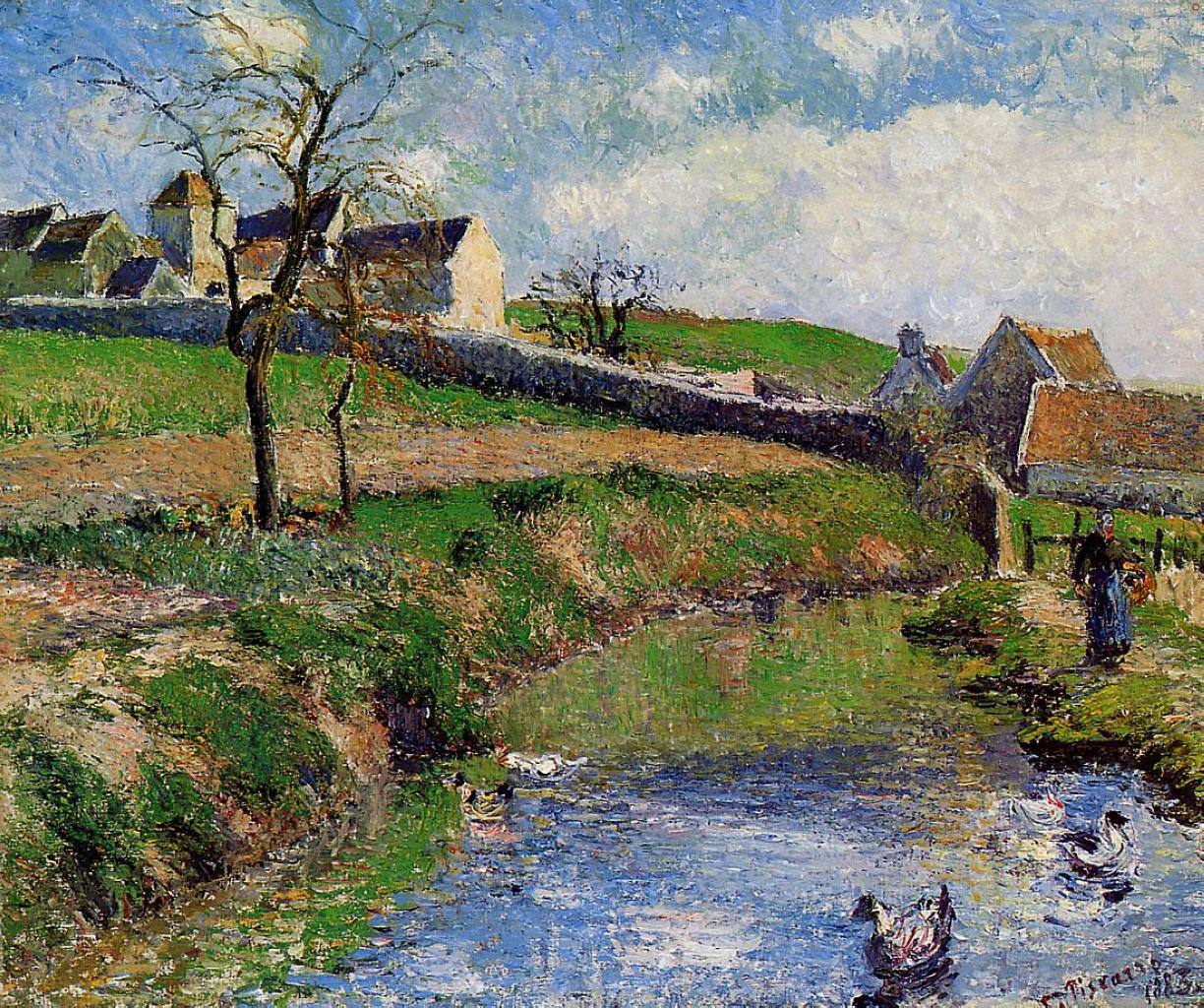 View of a Farm in Osny by Camille Pissarro, 1883