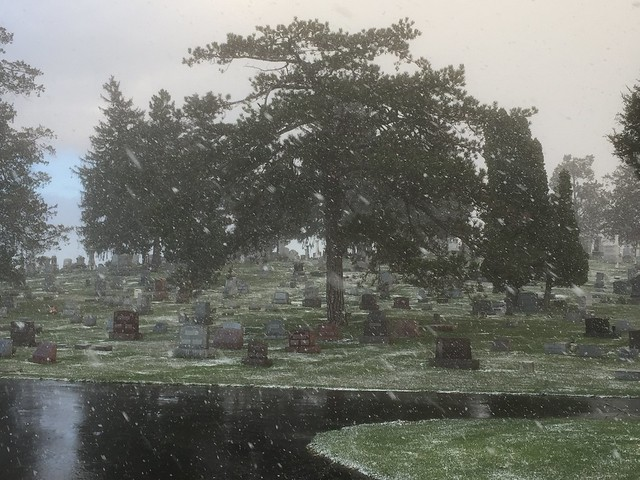 Lithopolis Cemetery in an April snow squall