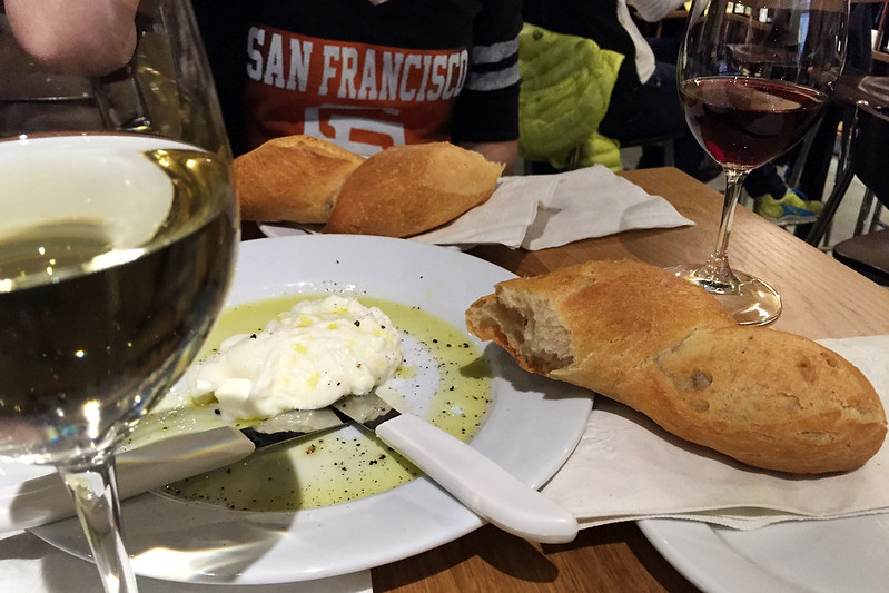 Burrata, bread, wine