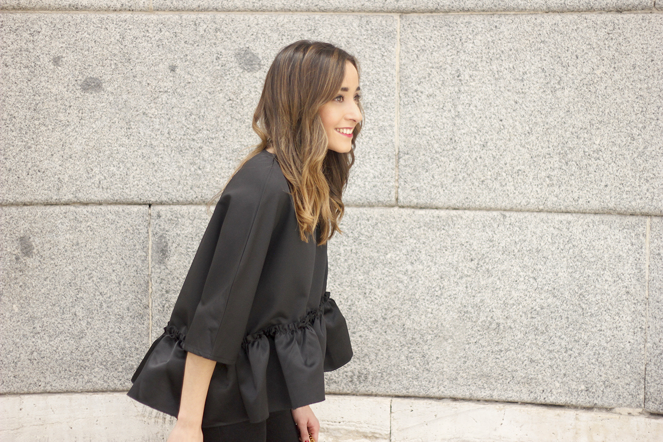 black top with a ruffle Carolina Herrera Sandals YSL bag accessories outfit style17