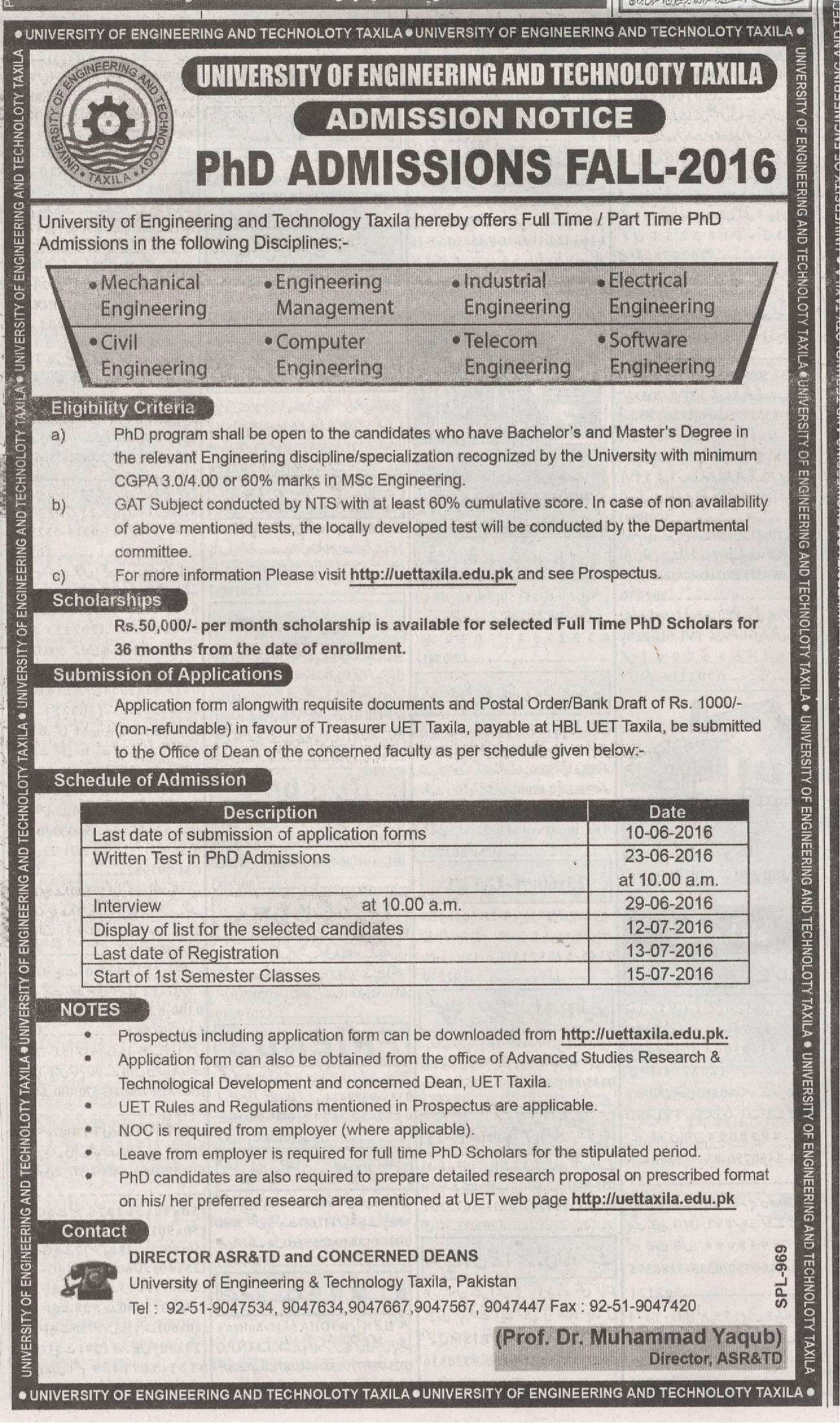 University Of Engineering And Technology Taxila Admission 2016
