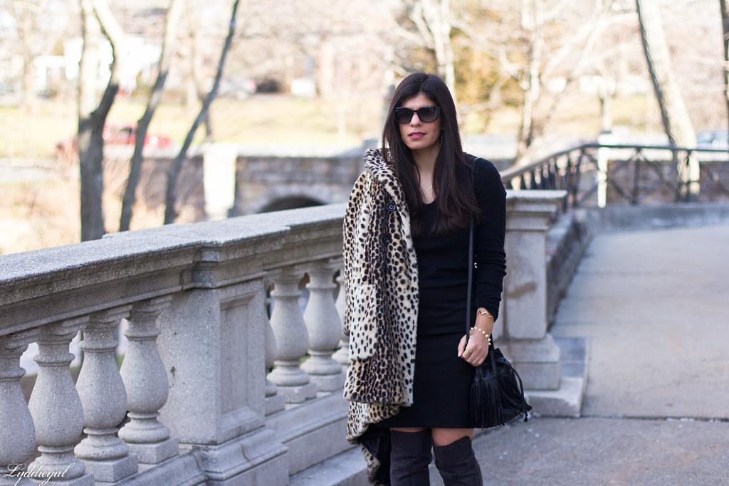 Black skirt, black top, leopard fur coat, over the knee boots-3.jpg