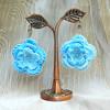 Blue Roses crochet bridal jewelry set collar necklace earrings bracelet ooak eco-friendly pure cotton jewelry
