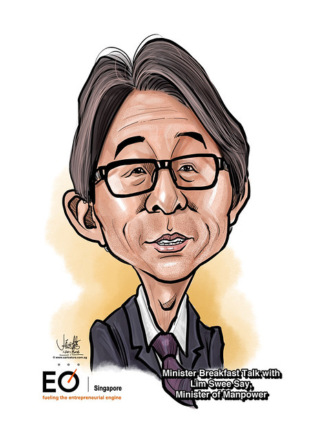 Mr Lim Swee Say digital caricature for EO Singapore