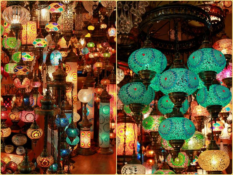 Colourful glass lanterns