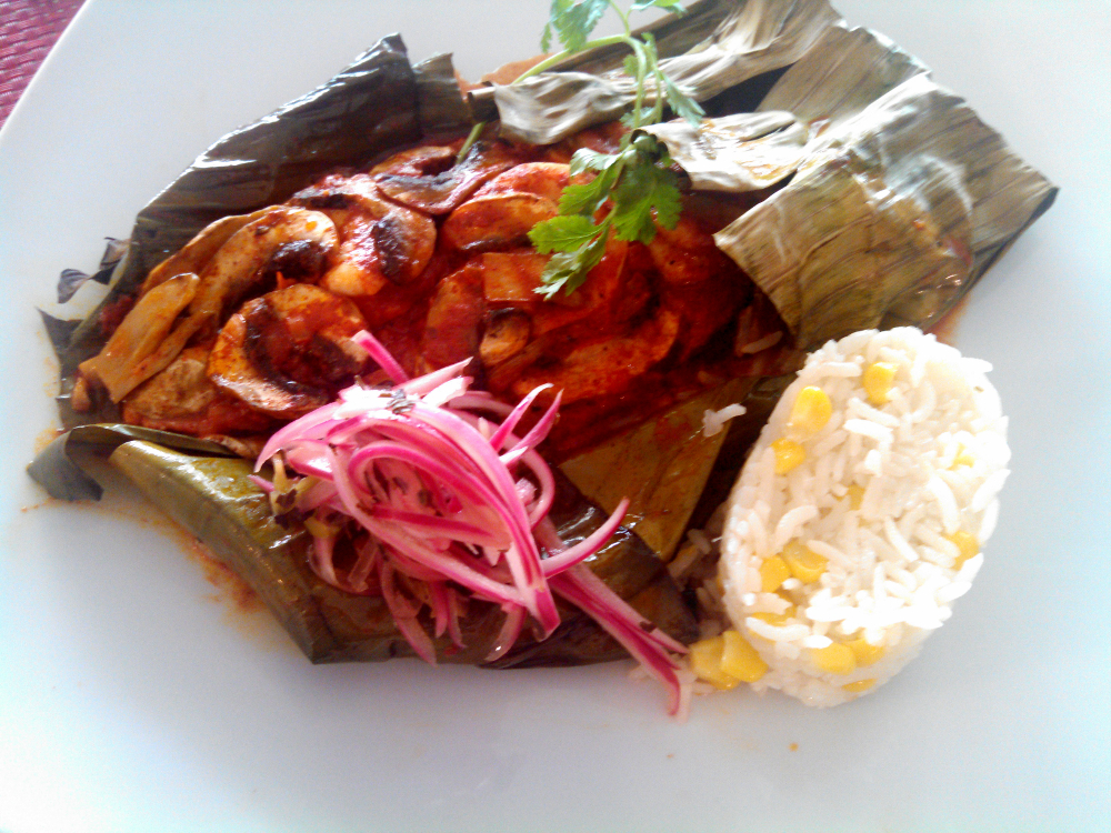 Seafood Steamed in Banana Leaf