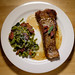 Spinach spaetzle with sage and bacon, New York strip finished with caraway butter. by poopoorama