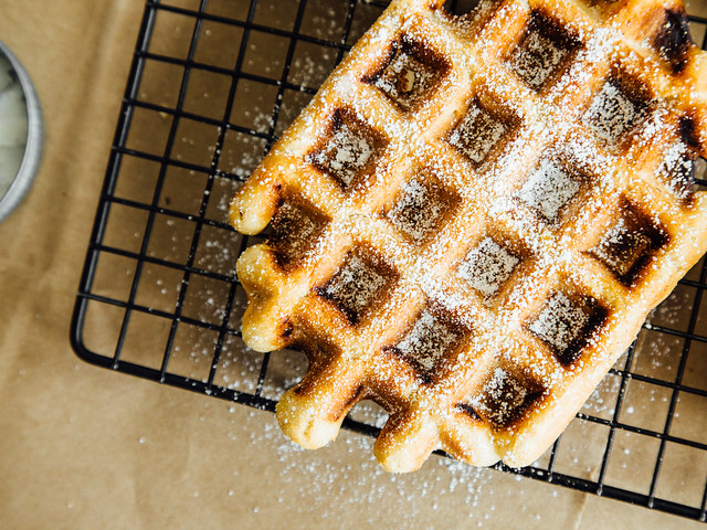 Pearl sugar waffles (two ways)