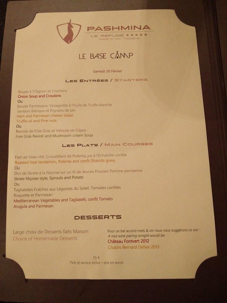 Day 3 dinner menu