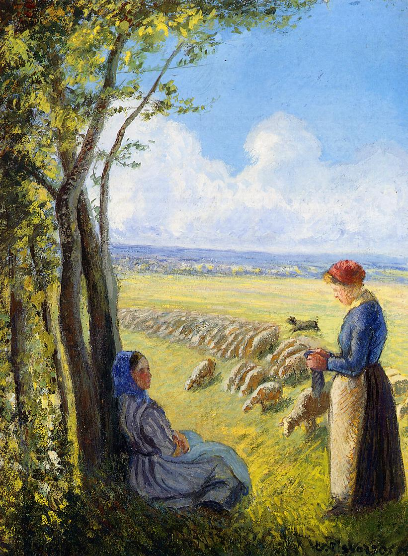 Shepherdesses by Camille Pissarro, 1887