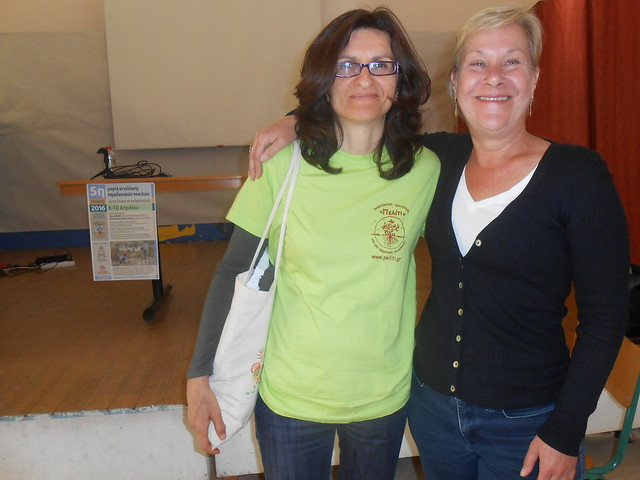 Stela Hadjigeorgiou and Nikki Rose 2016 Peliti Heirloom Seed Exchange, Pyrgos, Crete.