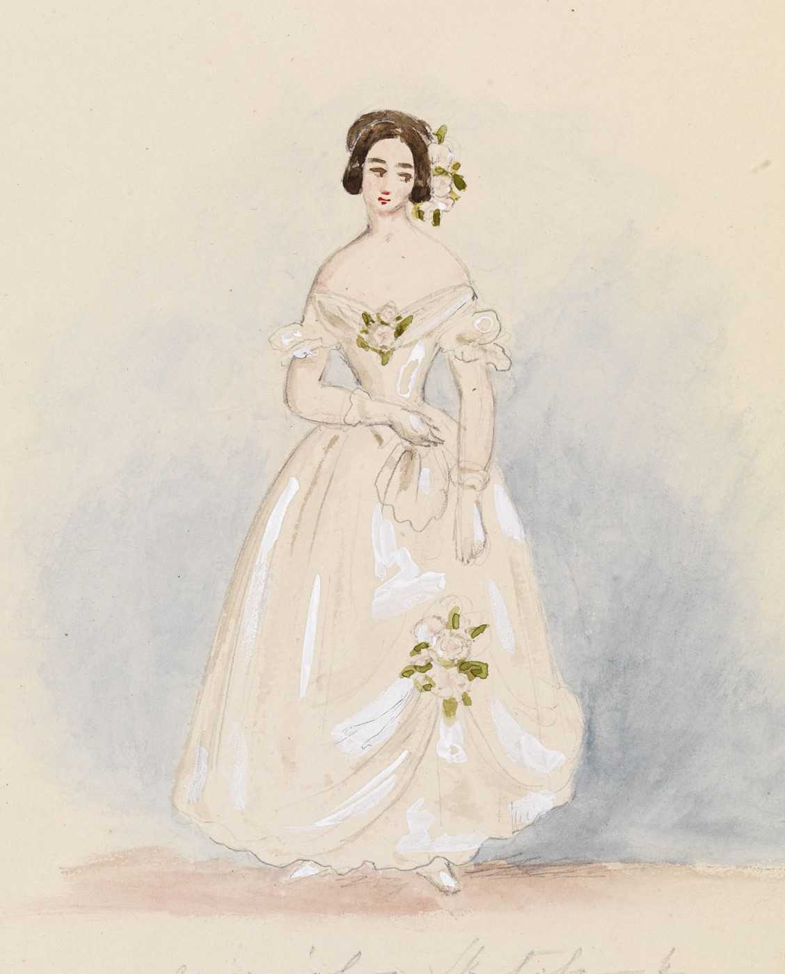 A watercolour design for Queen Victoria's twelve bridesmaids' dresses. Royal Collection Trust / © HM Queen Elizabeth II 2016