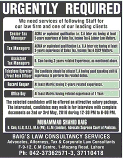 BAIG Consultancy Services Jobs