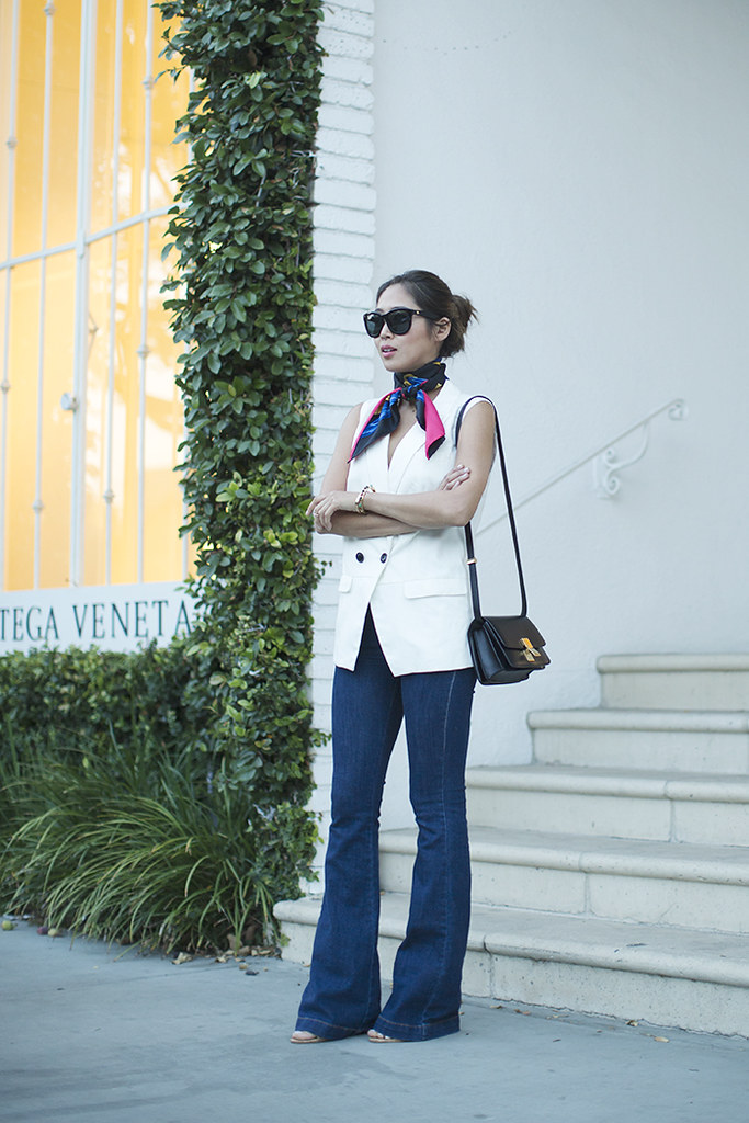 aimee_song_of_style_hermes_scarf_madewell_vest_flare_jeans