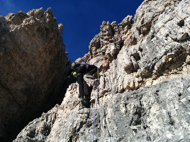Kletterpartie unterhalb des Gipfels, Aufstieg Große Zinne