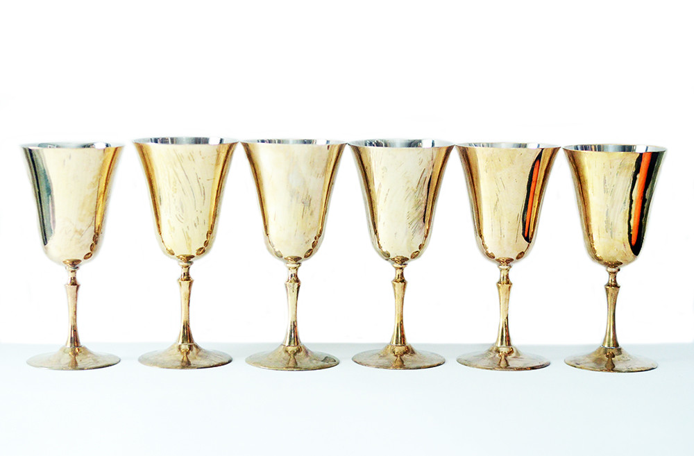 Six Vintage Brass Wine Glasses