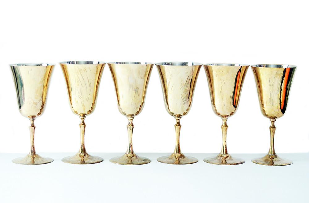 Six Vintage Brass Wine Glasses