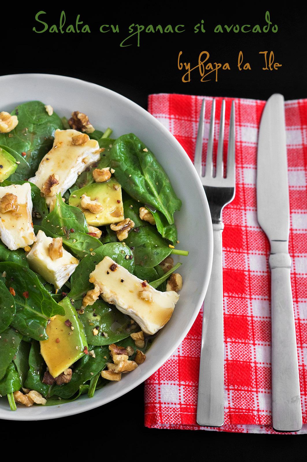 Salata cu spanac si avocado
