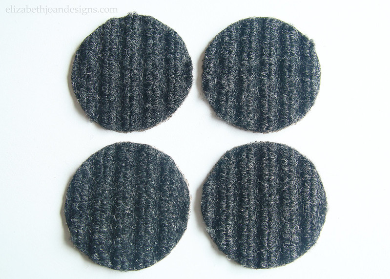 Small Round Gray Carpet Coasters an easy 5 minute craft