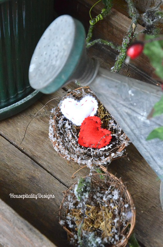 A winter's bird nests/felted wool hearts - Housepitality Designs