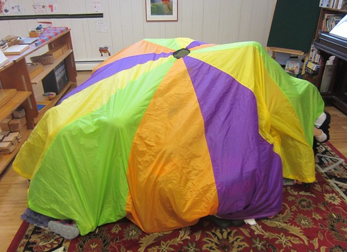 under the parachute