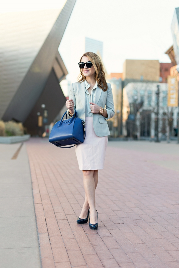 Work Outfit with Light Pink Skirt + Gray Blazer + Blue Accessories