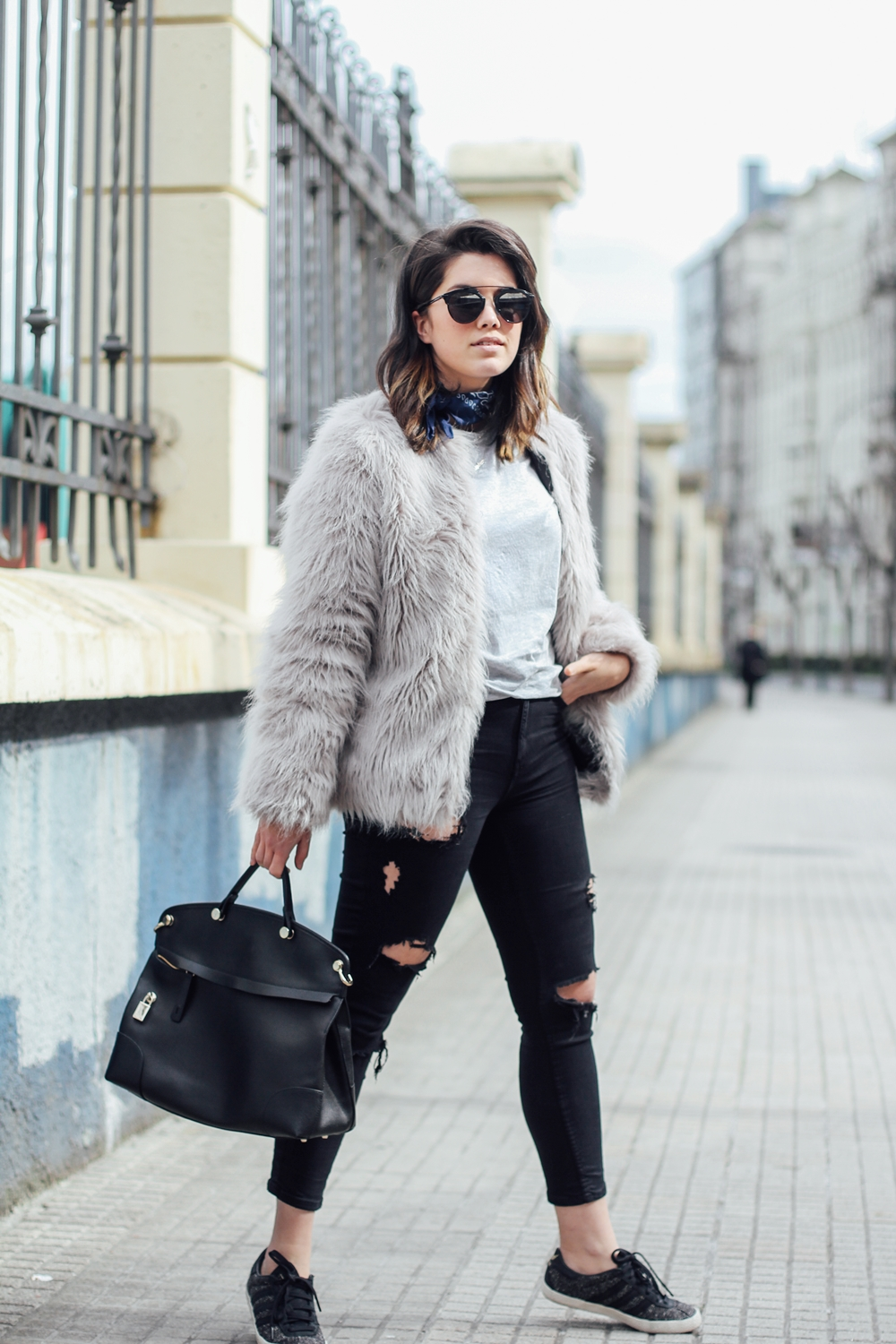 faux fur coat with vintage adidas gazelle 80s streetstyle