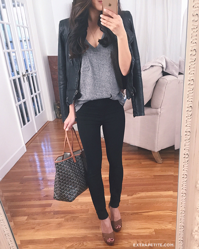 black jeans faux leather jacket goyard bag casual outfit