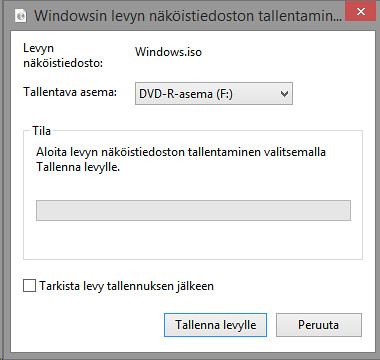 Windows 8 ISO tiedoston tallentaminen DVD:lle