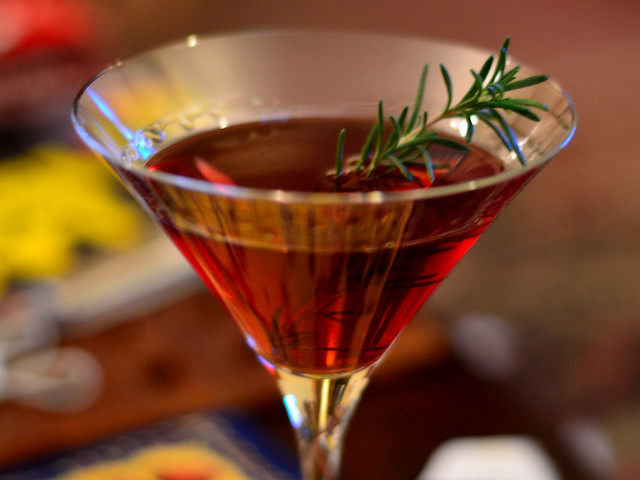 Gin, Pomegranate Juice, & Rosemary