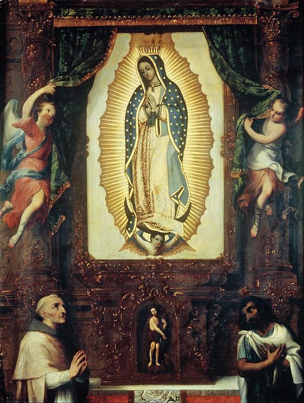 Miguel Cabrera - Retablo de la virgen de Guadalupe con san Juan Bautista, fray Juan de Zumárraga y Juan Diego