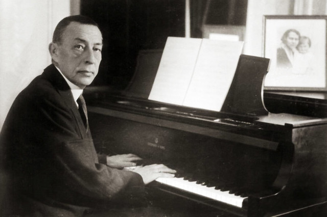 Sergei Rachmaninoff at a Steinway grand piano