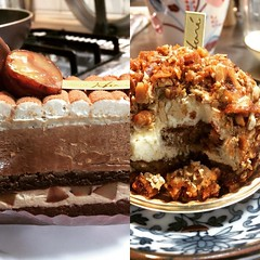 celebrating with patisserie haré cakes: hubs' marron cognac(left) & espresso (think tiramisu with caramelized nuts)...delicious❤︎  #patisseriehare #ikeda #japan #osaka #パティスリーhare