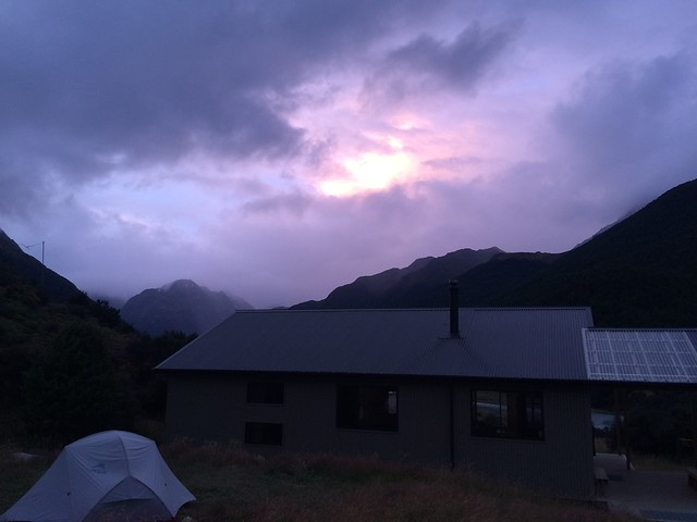 Sunset over Mid-Caples hut