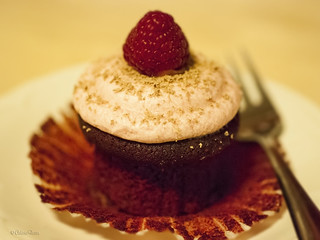Raspberry red velvet cupcakes with raspberry cream cheese frosting