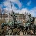 Don Quixote and Sancho Panza riding respectively on Rocinante and his usual Jumento, Lorenzo Coullaut Valera... by José Pestana