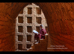 A young monk reading in the temples of Bagan, Myanmar