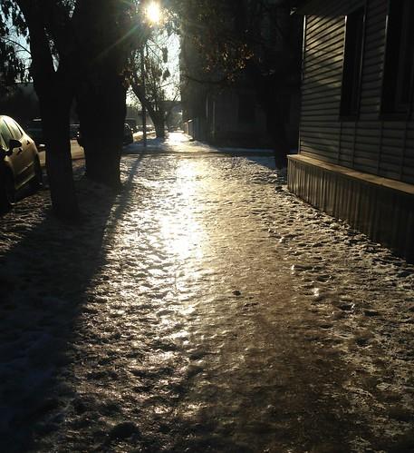 Icy footpaths