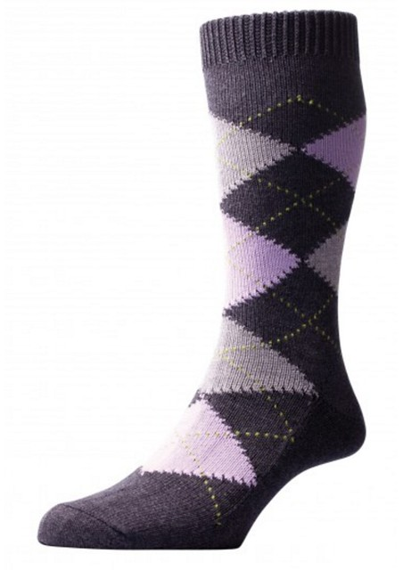 Well-Groomed Q&A Argyle Amethyst Grey Socks5