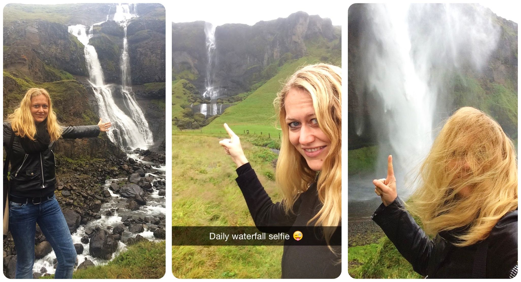 waterfall selfies iceland