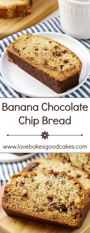 Banana Chocolate Chip Bread collage.