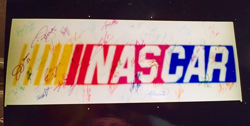 #1A-5, Muti Colored Autographed NASCAR Lamp Box signed The Late Jim Sauter, The Late Kevin Grubbs, Carl Edwards, Greg Biffle, and 38 Other Drivers,