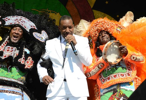 Mardi Gras Indians onstage with Donald Harrison, Jr. Day 1 of Jazz Fest 2016. Photo by Leon Morris.