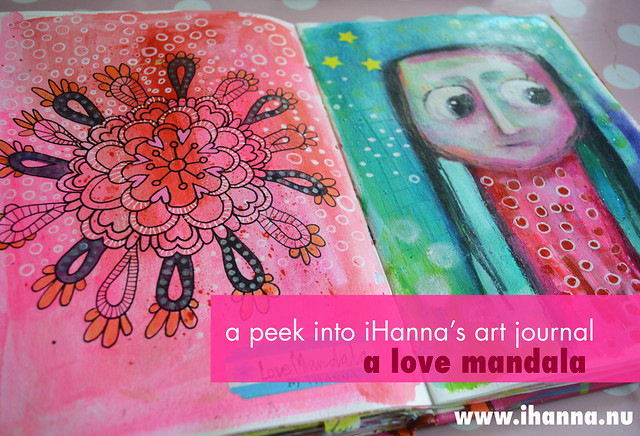 Art journal spread by iHanna: a love mandala and me