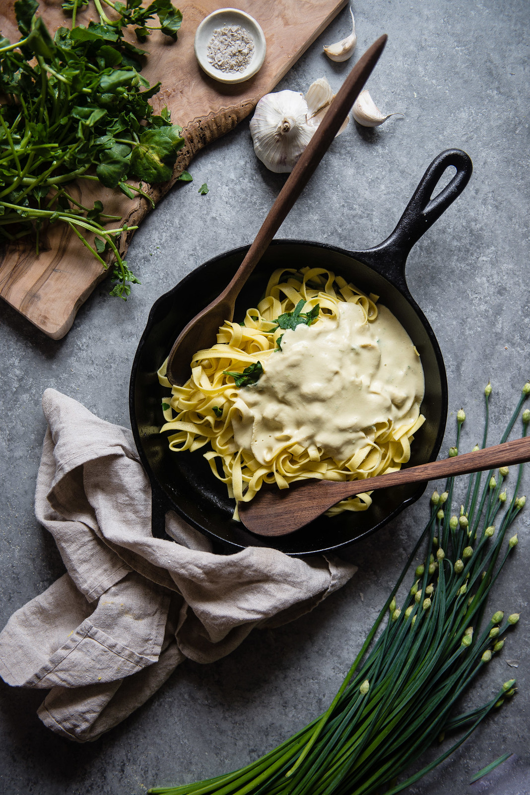 chickpea alfredo with watercress & chives | two red bowls