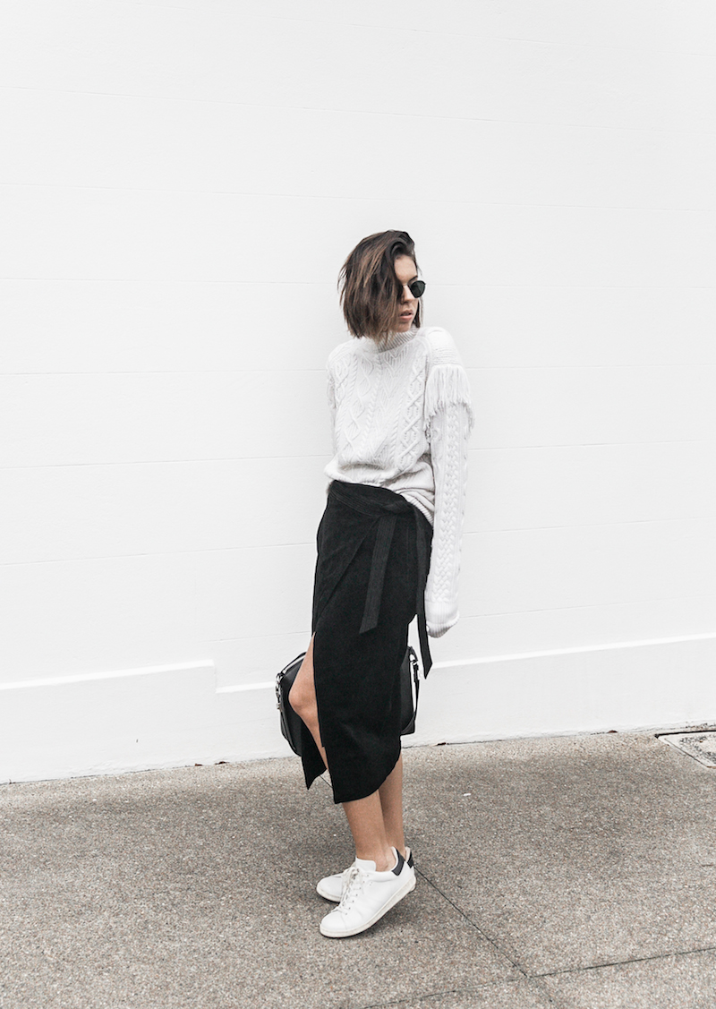 cream cable knit street style black suede skirt Isabel Marant sneaker monochrome inspo fashion blogger modern legacy x Karen Millen (8 of 12)